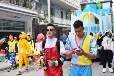 Floats and carnival participants in Xanthi, Greece