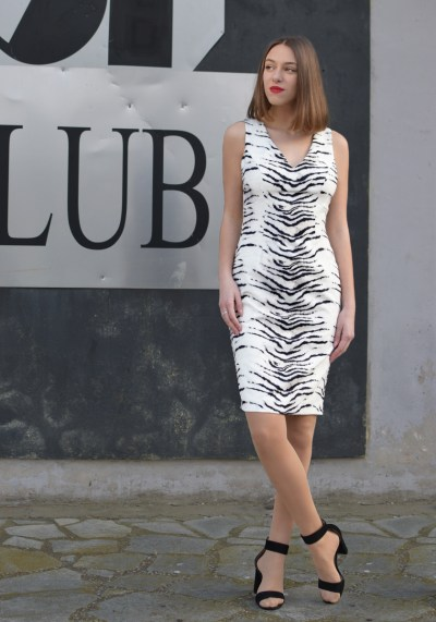 ANIMAL PRINT WHITE DRESS