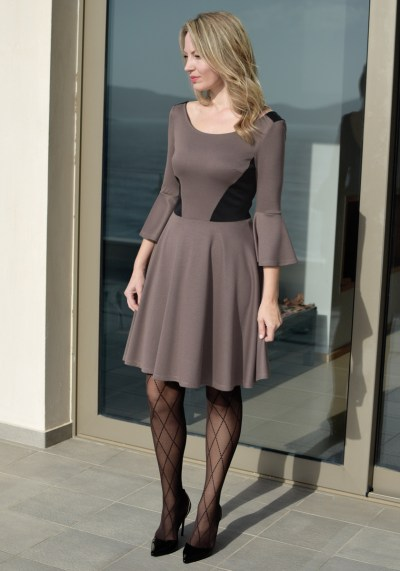 FLOUNCED SLEEVE BEIGE DRESS
