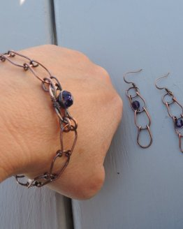 Copper link bracelet and earring set