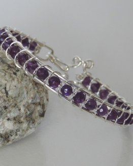 Silver and Amethyst Thin Bracelet