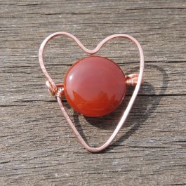 Gemstone heart brooch