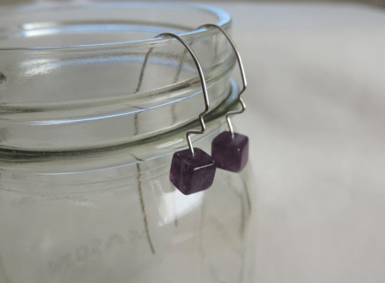Purple Amethyst threader earrings