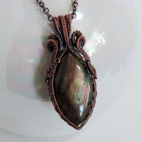 Labradorite and copper pendant