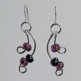 Argentium Silver and Purple Earrings
