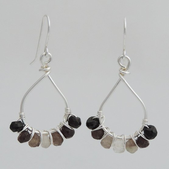 Silver and Smoky Quartz Earrings
