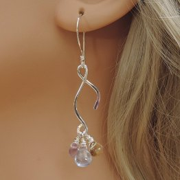 Silver earrings with three gemstones