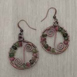 Pair of Copper and Tourmaline earrings