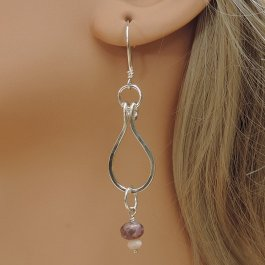 Silver earrings with purple and pink beads