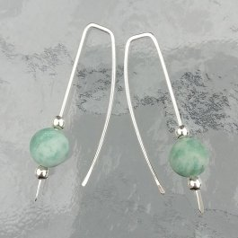 Amazonite and Silver Threader Earrings