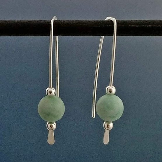 Amazonite and Argentium Silver Threader Earrings