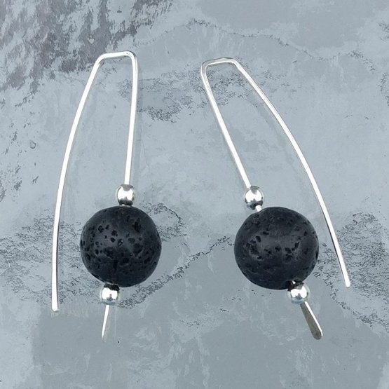 Lava bead and silver earrings