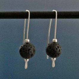 Lava bead earrings on Argentium Silver