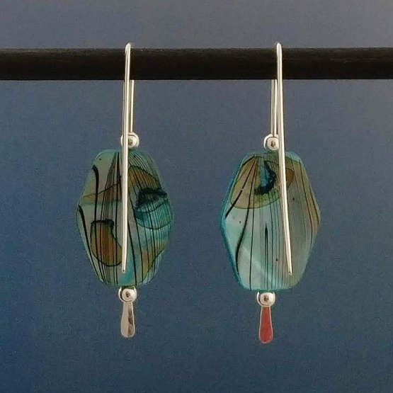 Back of Mother of Pearl Silver Threader Earrings