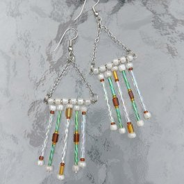 Fringe Earrings green and white