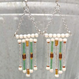 Seed bead fringe earrings hanging