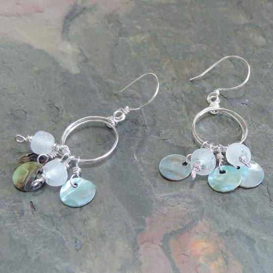 Bead and Shell Disk earrings
