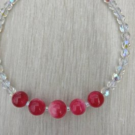 Ruby and Czech Glass Bracelet