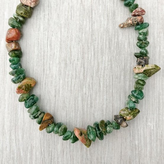 Unakite, Jasper and Emerald Chip Bracelet