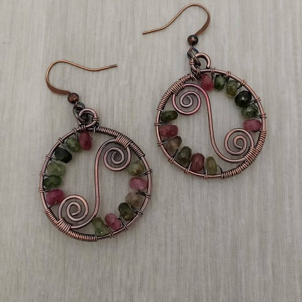 Tourmaline and copper earrings
