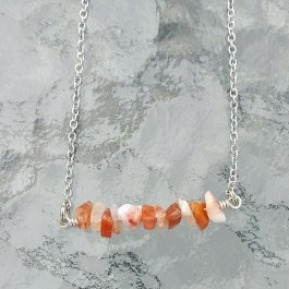 Image of orange agate bar necklace with stainless steel chain