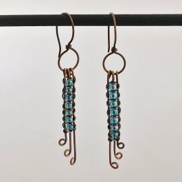 image of blue seed bead snake weave earrings