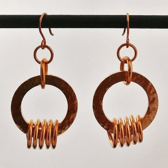 image of Copper circle and coil earrings