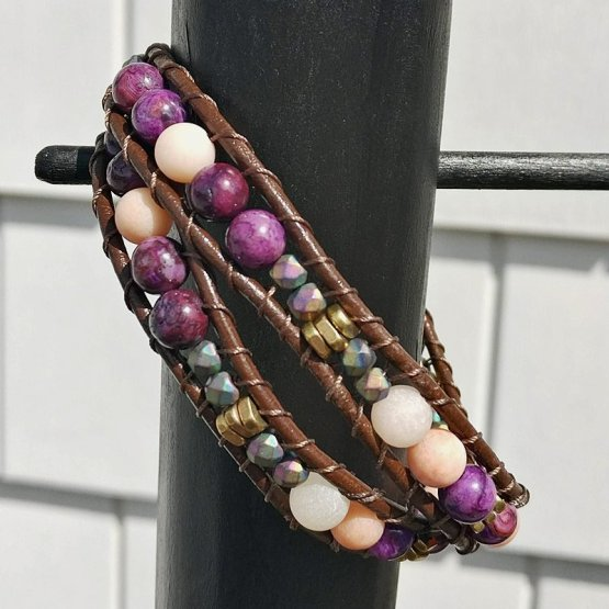 image of double leather wrap bracelet with purple agate and pink aventurine