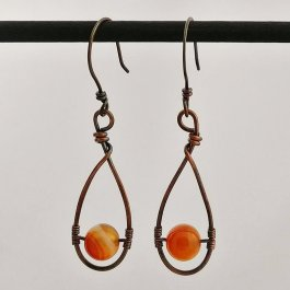 image of copper teardrop earrings with carnelian beads