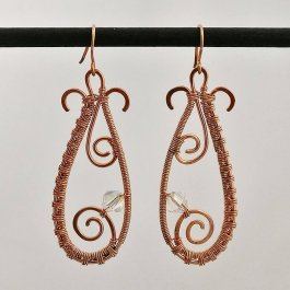 Image of woven copper teardrop earrings with Swarovski crystal beads