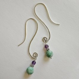 image of Amazonite and Amethyst beads on silver earrings