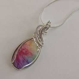 image of Rainbow Quartz and Argentium Silver pendant