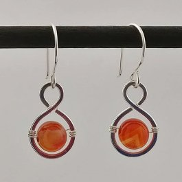 image of silver and sardonyx figure 8 earrings