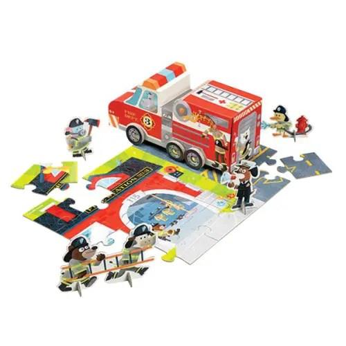 Puzzle caserne de pompiers et camion de pompiers en carton en guise de boîte de rangement