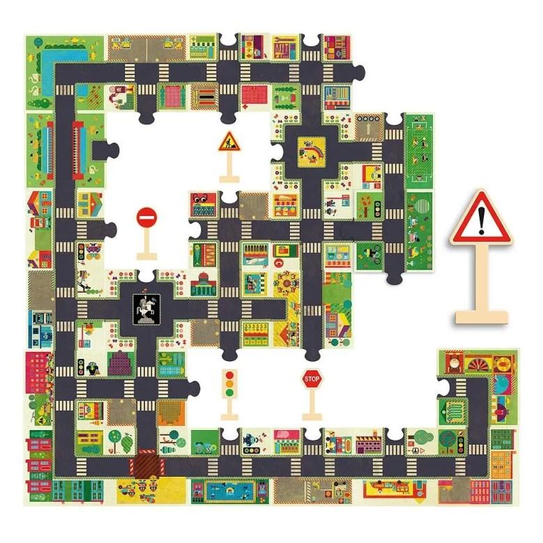 Puzzle qui fait circuit de voitures de Djeco avec panneaux de signalisation