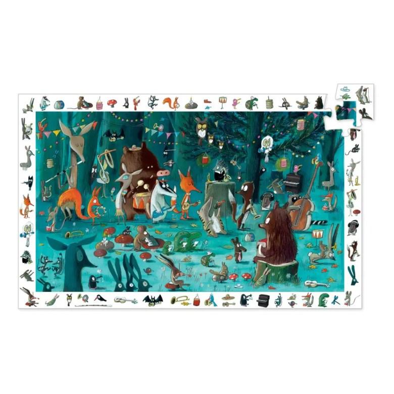 Puzzle avec des aminaux jouant de la musique dans la forêt noire