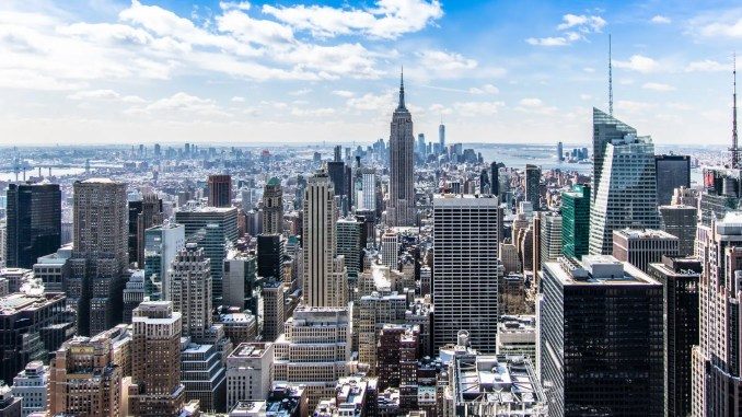 New york city view - aerial architecture blue sky buildings