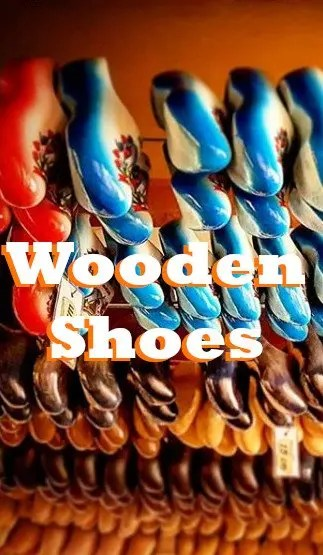 wooden shoes hanging