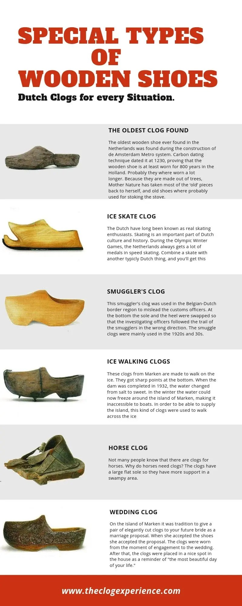 special types of wooden shoes infographic