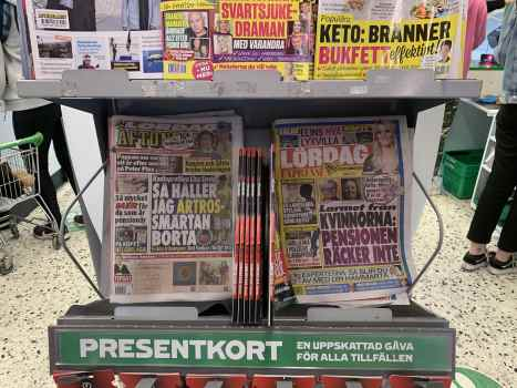 Covid is over in Sweden. No sign of it on the front pages of newspapers.