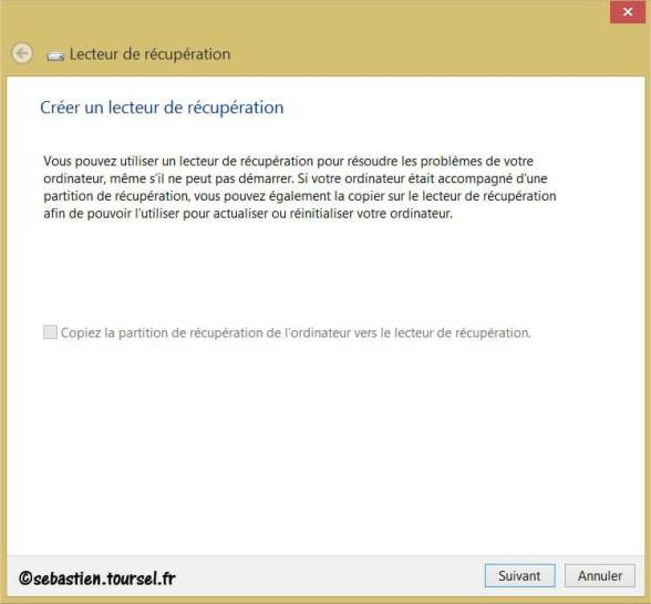 Créer Lecteur de recuperation Windows 8 KO