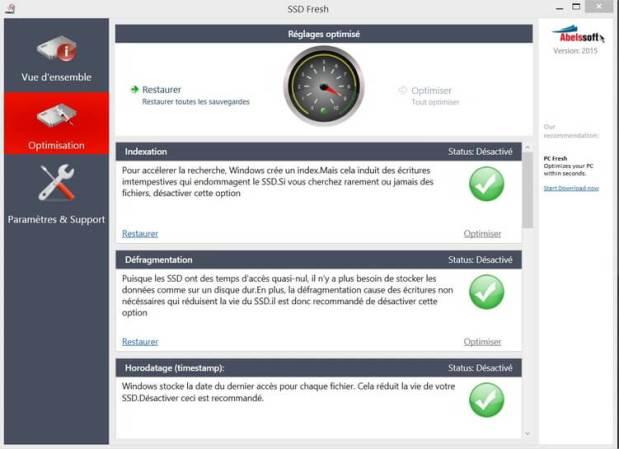 Optimiser un disque SSD logiciel SSDFresh