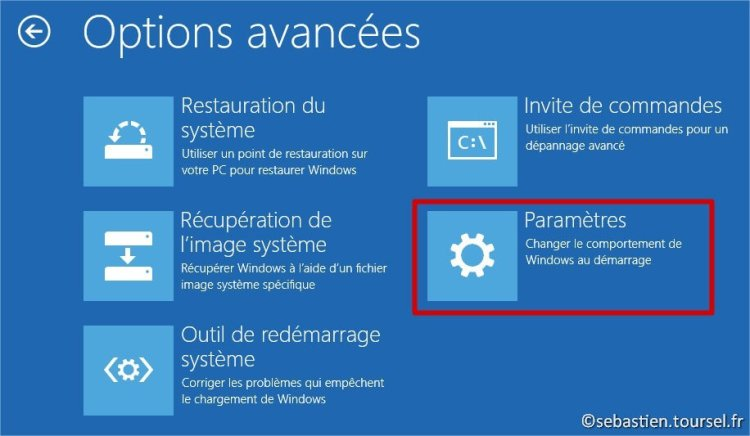 Tentatives de réparation Windows 8.1 Parametres