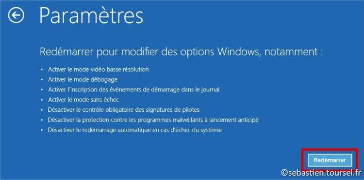 Tentatives de réparation Windows 8.1 redemarrer