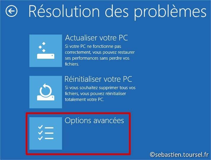 Tentatives de réparation Windows 8.1 Dépannage Options avancées