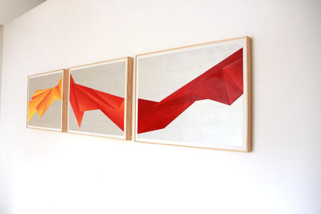 Triptyque Acrylique Papier - 45 x 60 cm