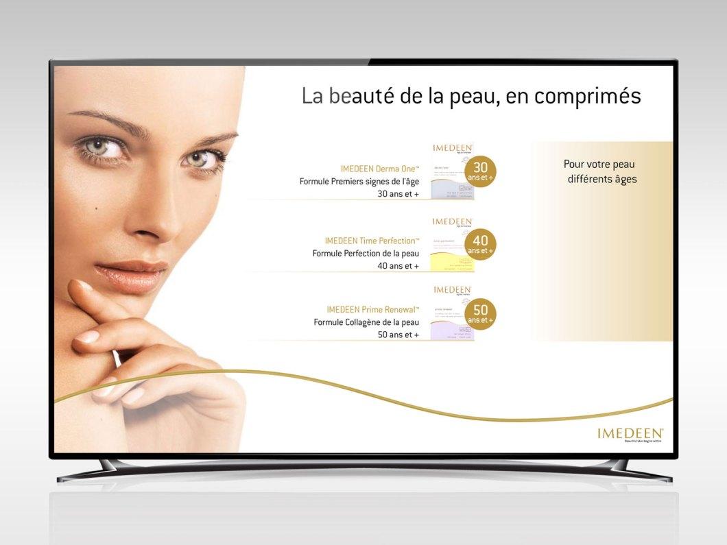 Slide de présentation de produits imedeen