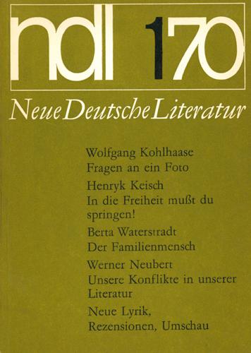 Neue Deutsche Literatur 1970/1Neue Deutsche Literatur 1970/1