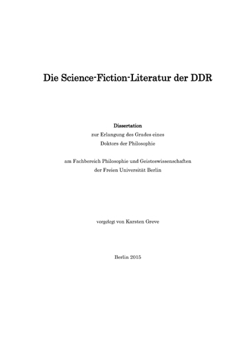 Karsten Greve - Die Science Fiction Literatur der DDR