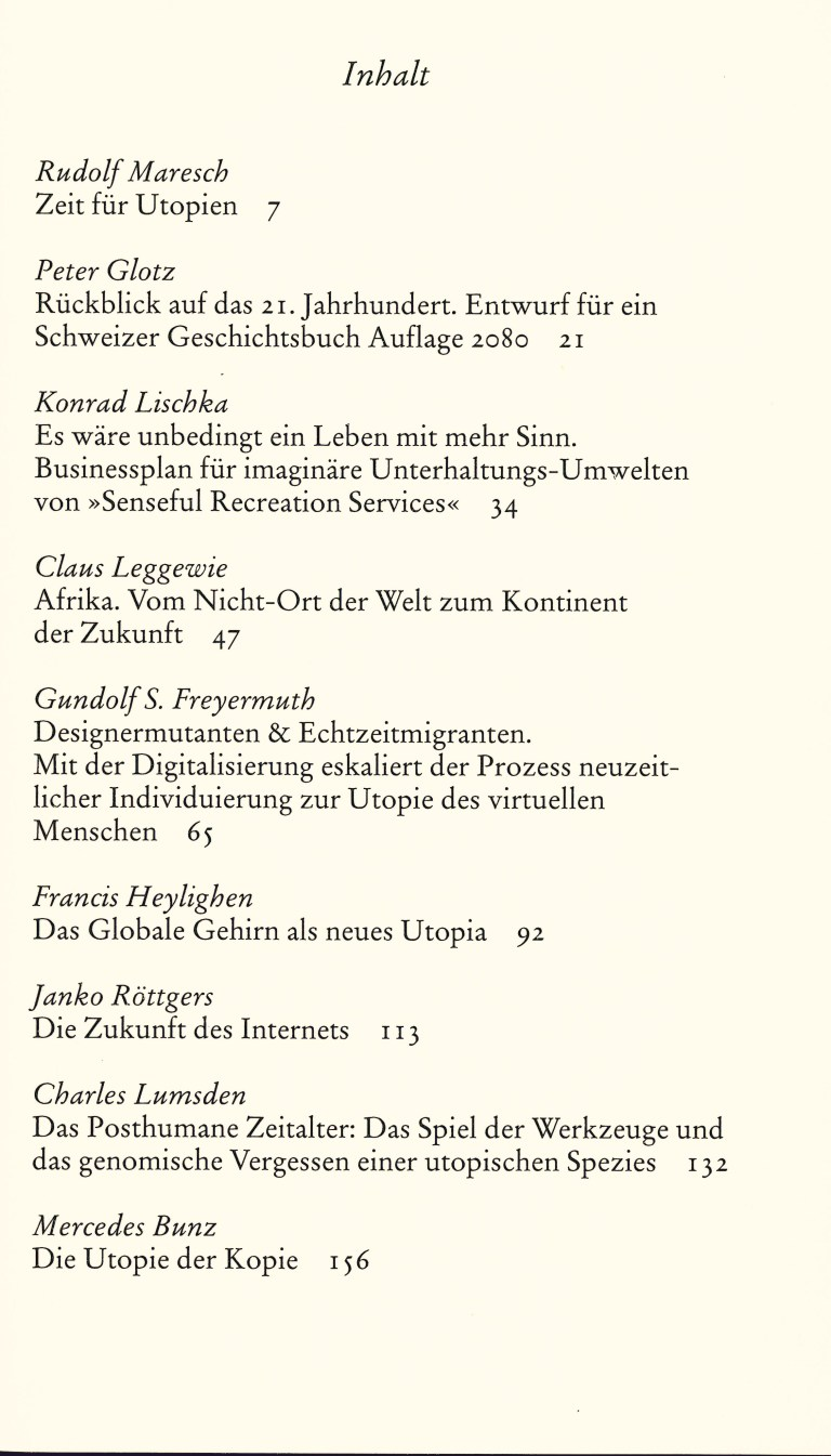 Renaissance der Utopie - Inhalt Seite 1